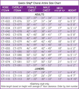 Qwick-Ship Choral Attire Size Chart