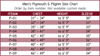 Men's Plymouth and Pilgrim Clergy Robe Size Chart