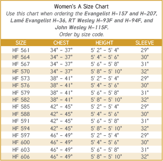 Women's Clergy Robe Size A Size Chart