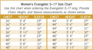 Women's Evangelist S-17 Clergy Robe Size Chart