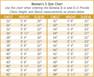 Women's Clergy Robe S Size Chart