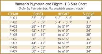 Women's Plymouth and Pilgrim Clergy Robe Size Chart