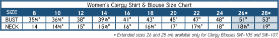 Women's Clergy Shirt and Clergy Blouse Size Chart