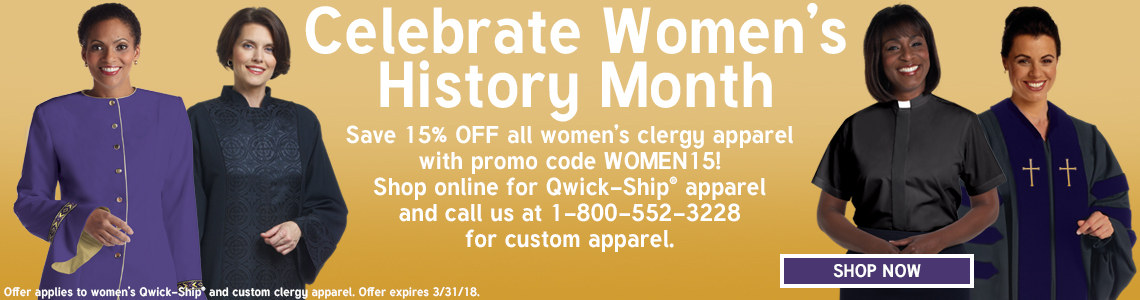 Save 15% OFF women's clergy apparel